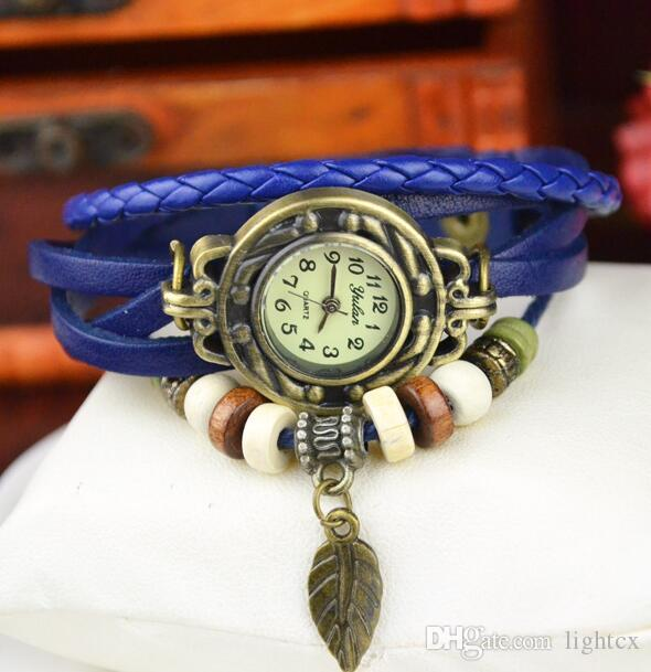 Cool Fashion Women bracelets watch Leaf Pendant bracelet watch lady personality vintage Rope Weave Beads leather wristwatch