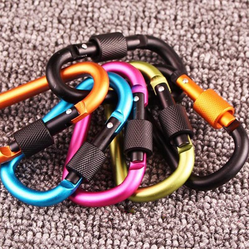 1000pcs / lot Chaveiro 7,8 centímetros de alumínio Carabiner D-Ring Clipe Camping Chaveiro Mosquetão Kit de Viagem Exterior