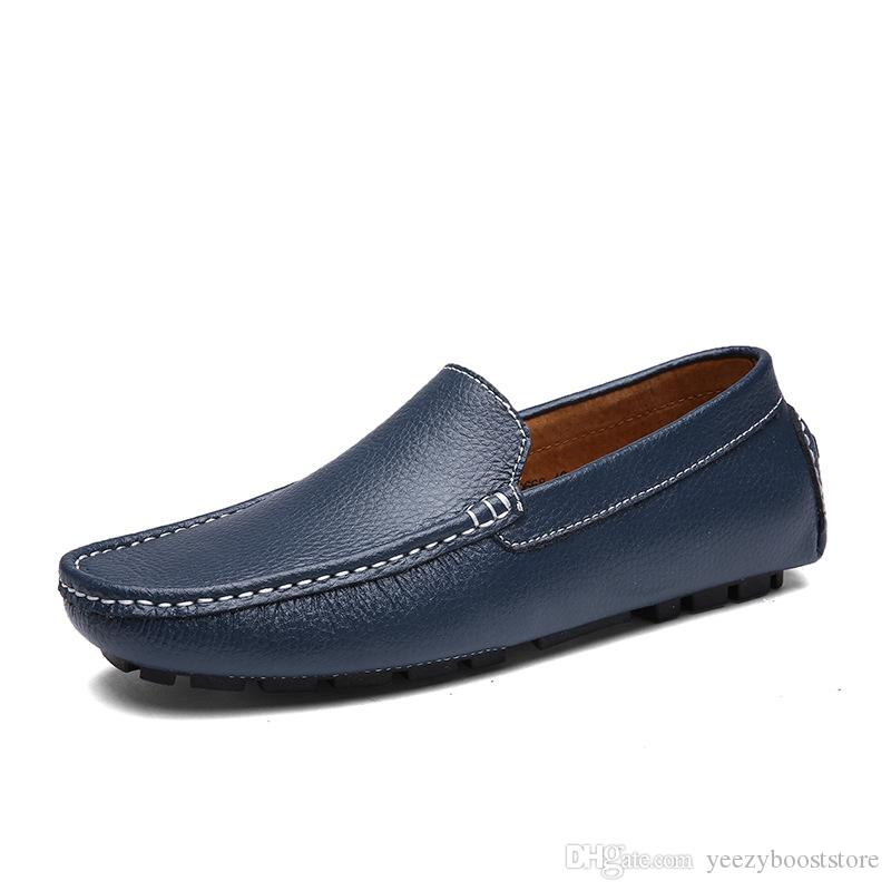 Zapatos de cuero de alta calidad de los hombres de los holgazanes reales Azul marino de la manera hombres del barco Marca zapatos de cuero Casual Male plana zapatillas de deporte Tamaño 39-44