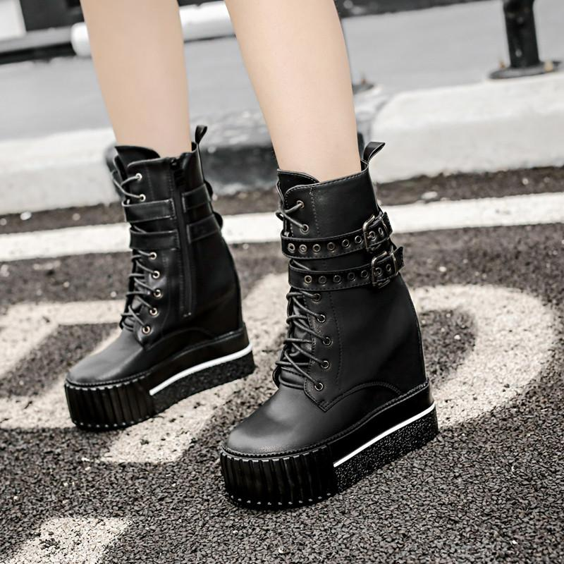 Women's Martin Boots 2018 Autumn Winter PU Leather High Heels Platform Boot Black Ankle Boots For Women With Heel Woman Shoes