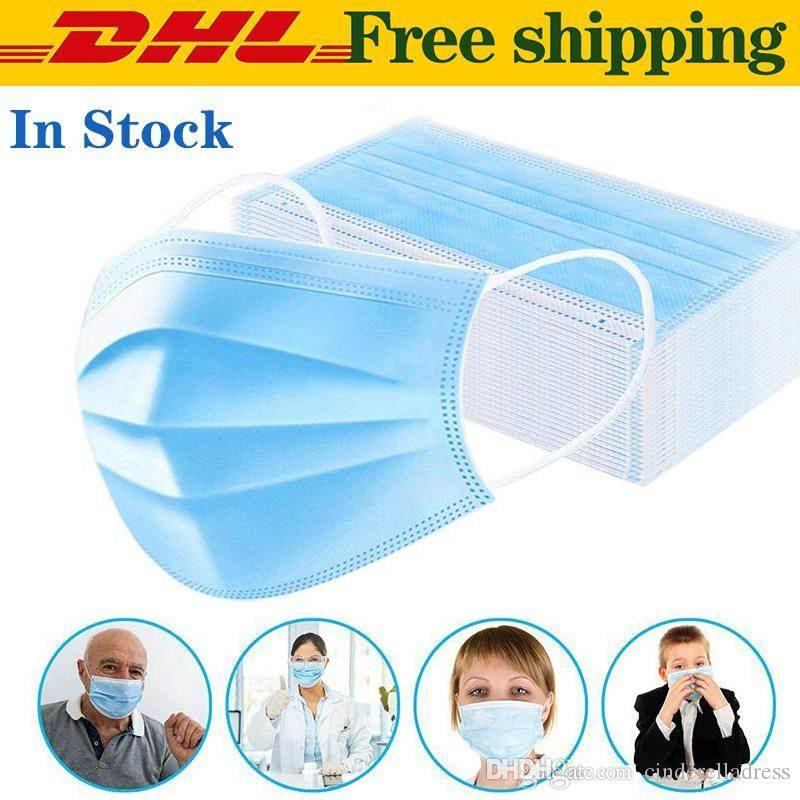 200x desechable Anti contaminación mascarilla boca respirador 3 capas  Earloop máscara protectora envío gratis entrega rápida