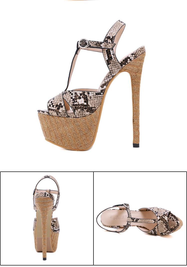 Sexy ladies T strap snake grain platform ultra high Heels sandals 16cm designer sandals size 35 to 40 cs5