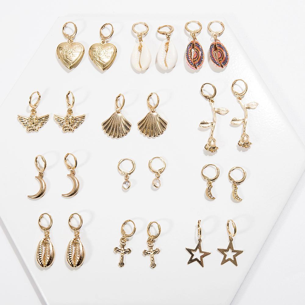 Corea monili shell naturale capesante orecchini di goccia Dolce Nuova Moda Bohemian Stars fiore della Rosa di orecchini a cerchio di estate delle donne