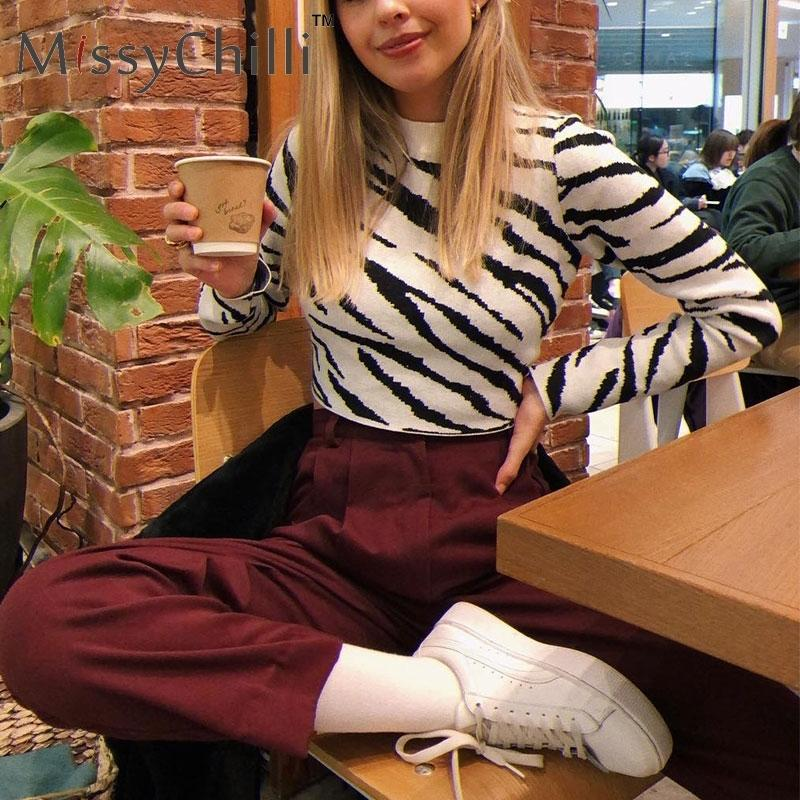 MissyChilli Kurz geschnitten Zebra Frauen Pullover Pullover Tops elastische Langarm-gestrickten Pullover Pull femme warmen Pullover NEW SH190928 Strick