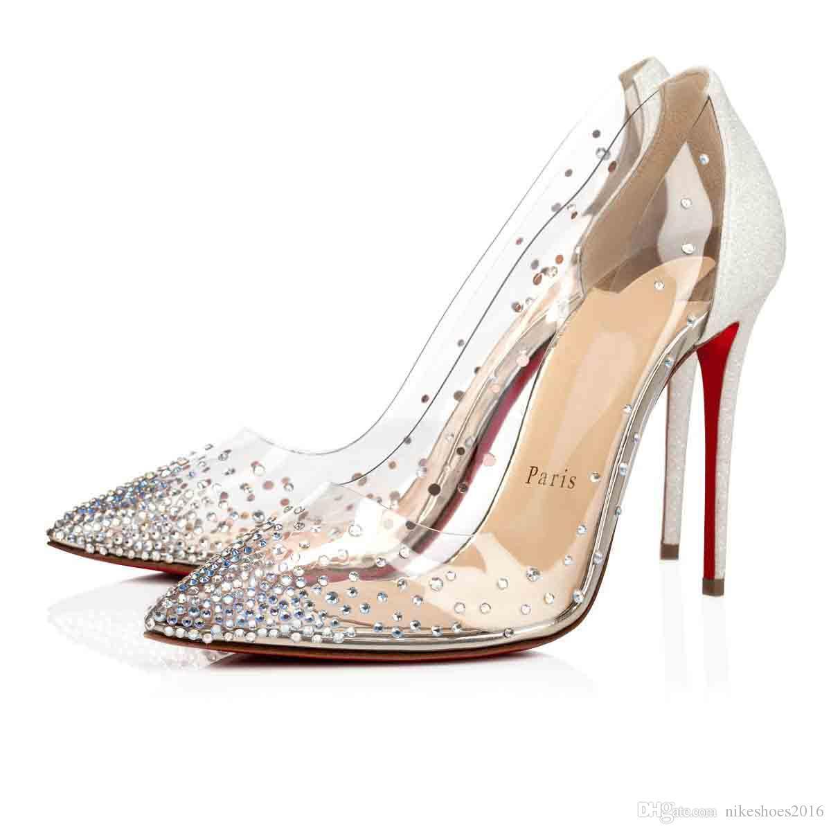 السيدات الكعوب العالية Galativi نوع من الكريستال الأحمر أسفل الأحذية مضخة الأسود عاري المرأة فستان الزفاف حفل زفاف اللباس الخصم مع صندوق