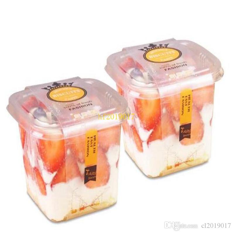Clear Cake Box Container Transparent Cream Cake Plastic Package Box with Lid Cheese Ice Cream Fruit Mousse Packaging Box