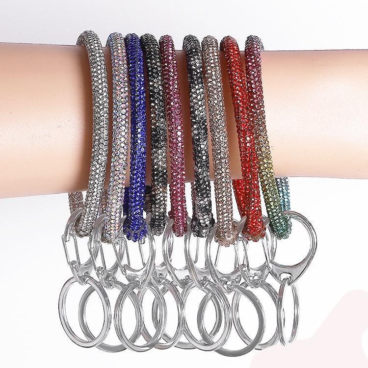 9 색깔 실리콘 다이아몬드라 팔찌는 손목 키 링 체인 팔찌 원 팔찌 자동차 키체인 손목 끈 보석