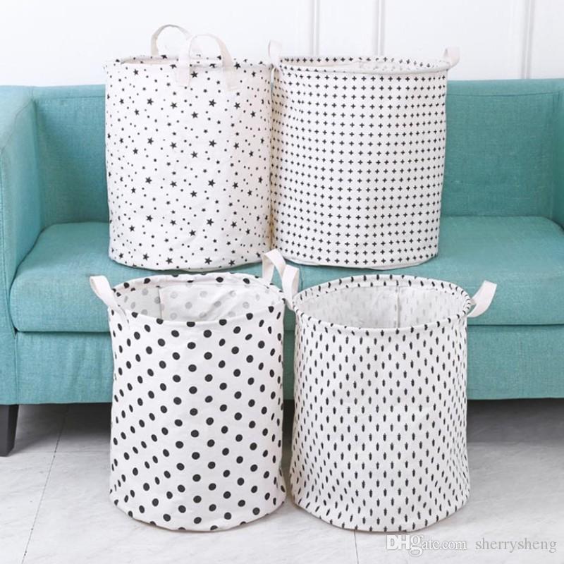 سلال القذرة الملابس تخزين حجم كبير سلة الغسيل كيس القطن والكتان حقيبة النسيج مربع تخزين ماء عربات التي تجرها الدواب للطي التي تحتوي على مربع