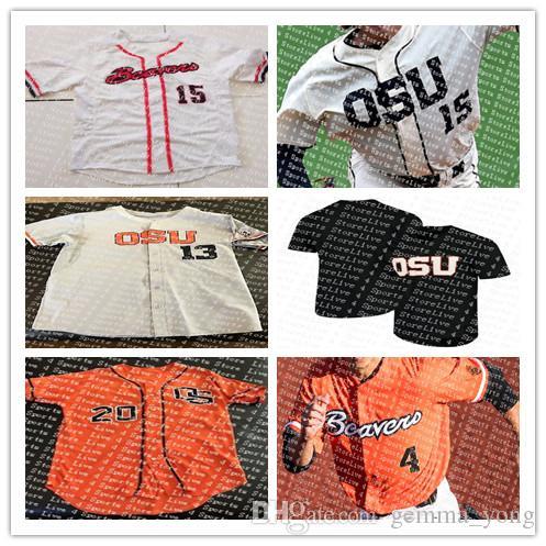 Özel Oregon State Kunduzlar Üniversite Beyzbol Formalar 3 Nick Madrigal 11 Trevor Larnach Beyaz Siyah Turuncu Dikişli Gömlek Boyutu S-4XL