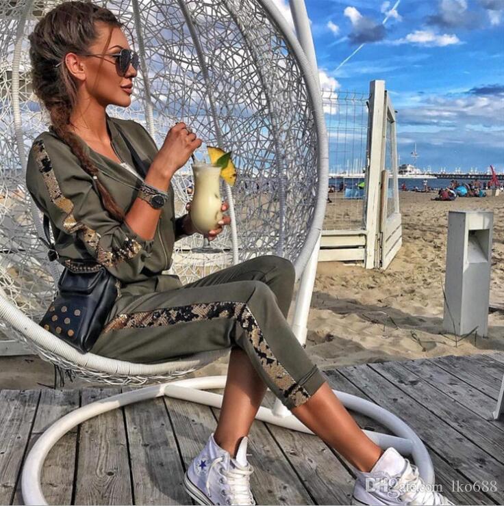 Printemps nouveaux paillettes de mode de loisirs couture veste en deux pièces sportswear costume de loisirs sportswear veste femme