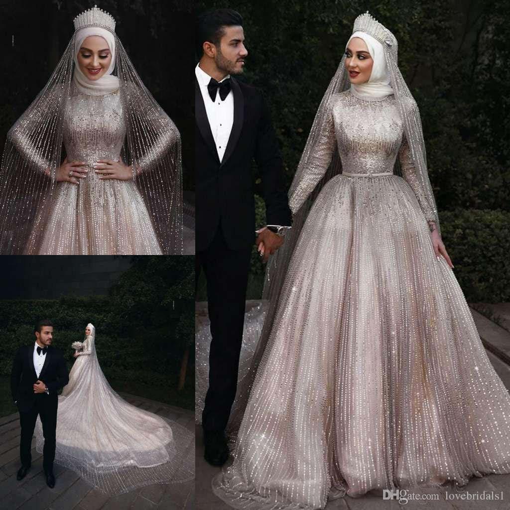 Robes de mariée musulmanes mousseuses de luxe à col haut paillettes pleines à manches longues plus taille Arabe Dubai Wedding Robes de mariée robes