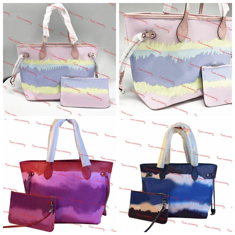 With Tie Matching Bag Summer Dye Handbags For Women's Luxury Tote Unicorn Designer Pastel Pastel Purses Pouch Fbuwt