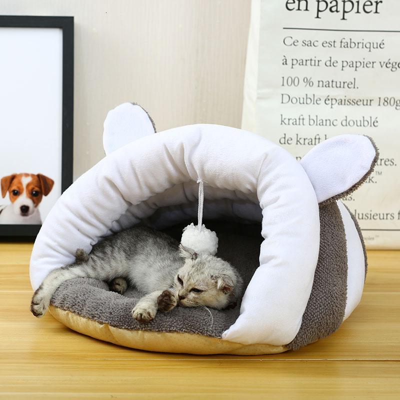 Nueva mascota de algodón redonda cama de gato otoño invierno más cálido Cesta para gatos dormir Cojín para productos para mascotas cachorro para perros pequeños SH190926
