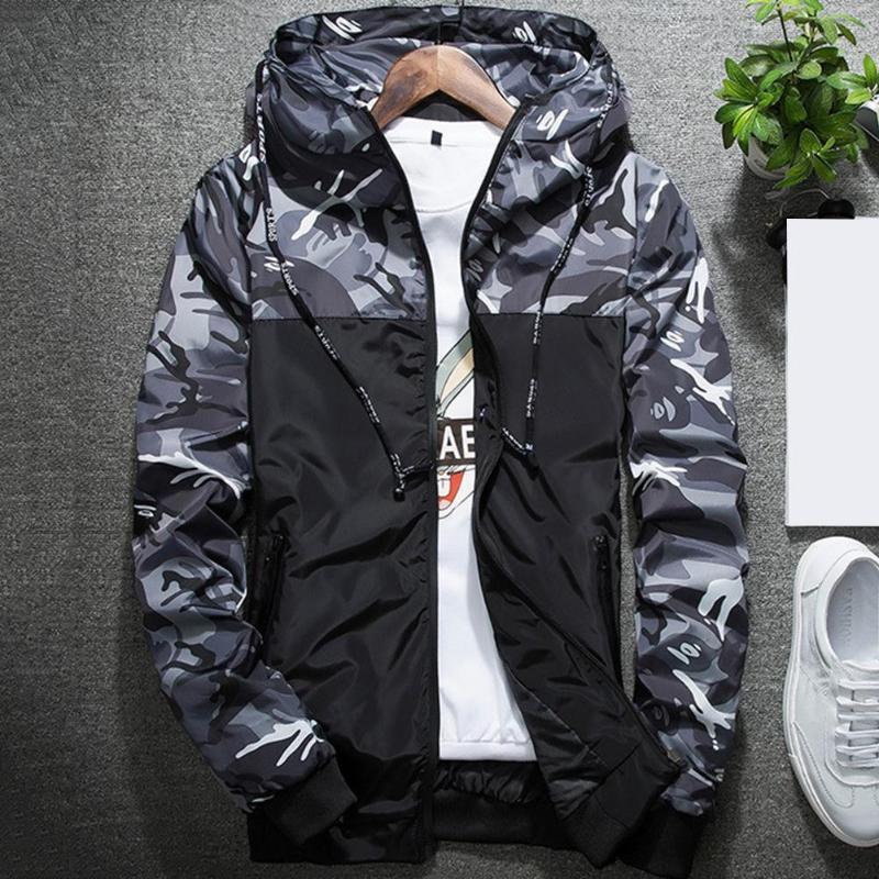 Camouflage Print Patchwork Bomber Jacket Casual Hooded Zipper Pocket Coat jaqueta corta vento chaquetas hombre casaco masculinos