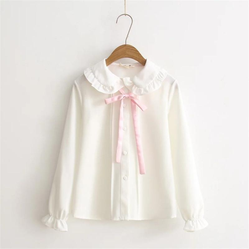 2018 Mulheres blusas meninas Outono manga longa peter pan colarinho rosa bowknot camisa blusa branca escola japonesa PZ164 uniforme