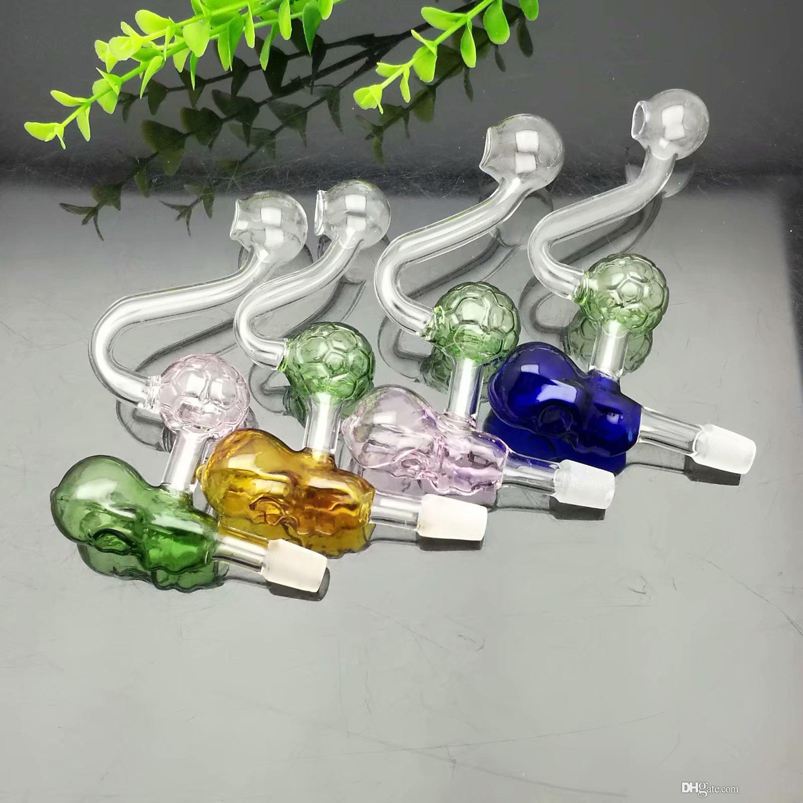 Nouvelle couleur Crâne de football en verre Boiler Grand verre Pyrex brûleur à huile Tuyau d'huile épais truque tuyau d'eau en verre
