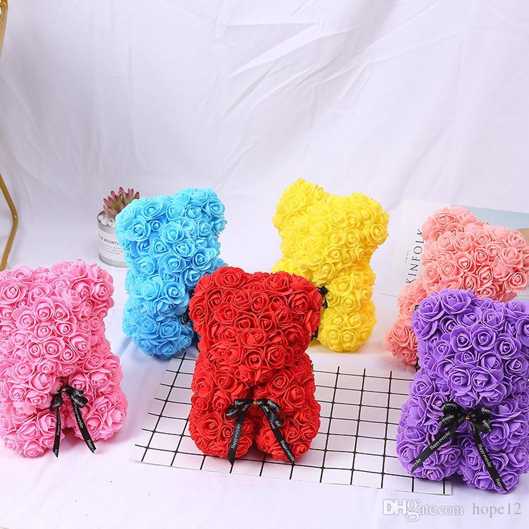 Kadınlar Sevgililer Hediye Noel 9 renkler için Güller Teddi Ayı Gül Çiçek Yapay yılbaşı Hediyeler hiçbir kutu 25cm Sabun Köpüğü Ayı