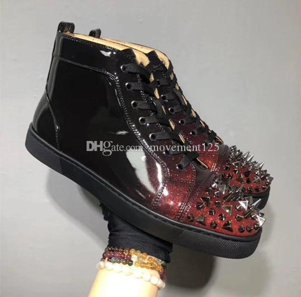 2020 Red Bottom Chaussures Femme dégradé en cuir verni Pik Pik Spikes Hommes Chaussures Orlato Noir Vin rouge Formateurs Designer semelle rouge en cuir