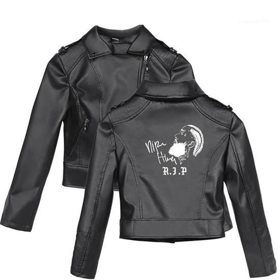 Print With Zipper Leather Jacket Plus Size Long Sleeve Female Coat Teenager Style Nipsey Hussle Pattern