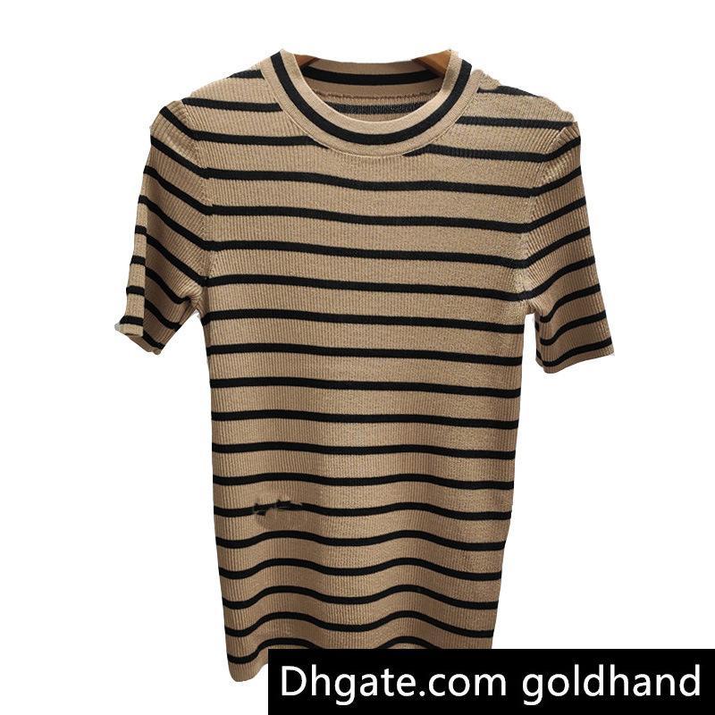 Diseñador de las señoras de las mujeres camisas de moda de verano de lujo de punto informal camisetas bordadas Marca abeja hembra suéter de la tapa