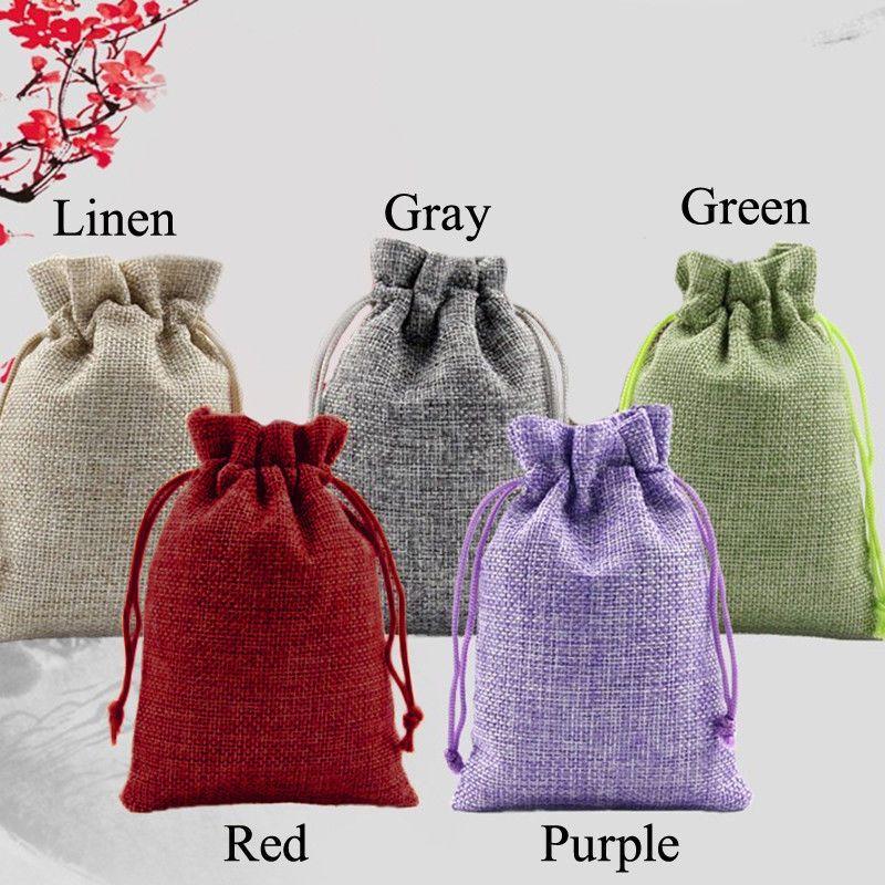5 Colour 50pcs Jewelry Packaging Pouch 7x9 10x16 13x18cm Wedding Hessian Burlap Favor Jute Gift Bags Drawstring Sack Pouch