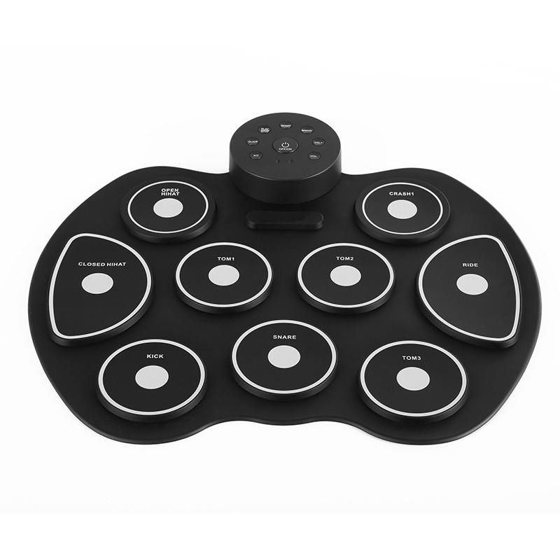 9 pads Professional Drum Pad Foldable Silicon Kit with USB Portable Cylinder Stick Electronic