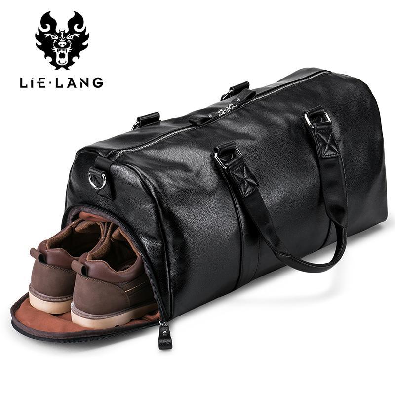 Bolsa preta Travel Bag de couro à prova d'água de grande capacidade de Homens LIELANG viagem Duffle Multifunction Tote Bags Bandoleira Casual