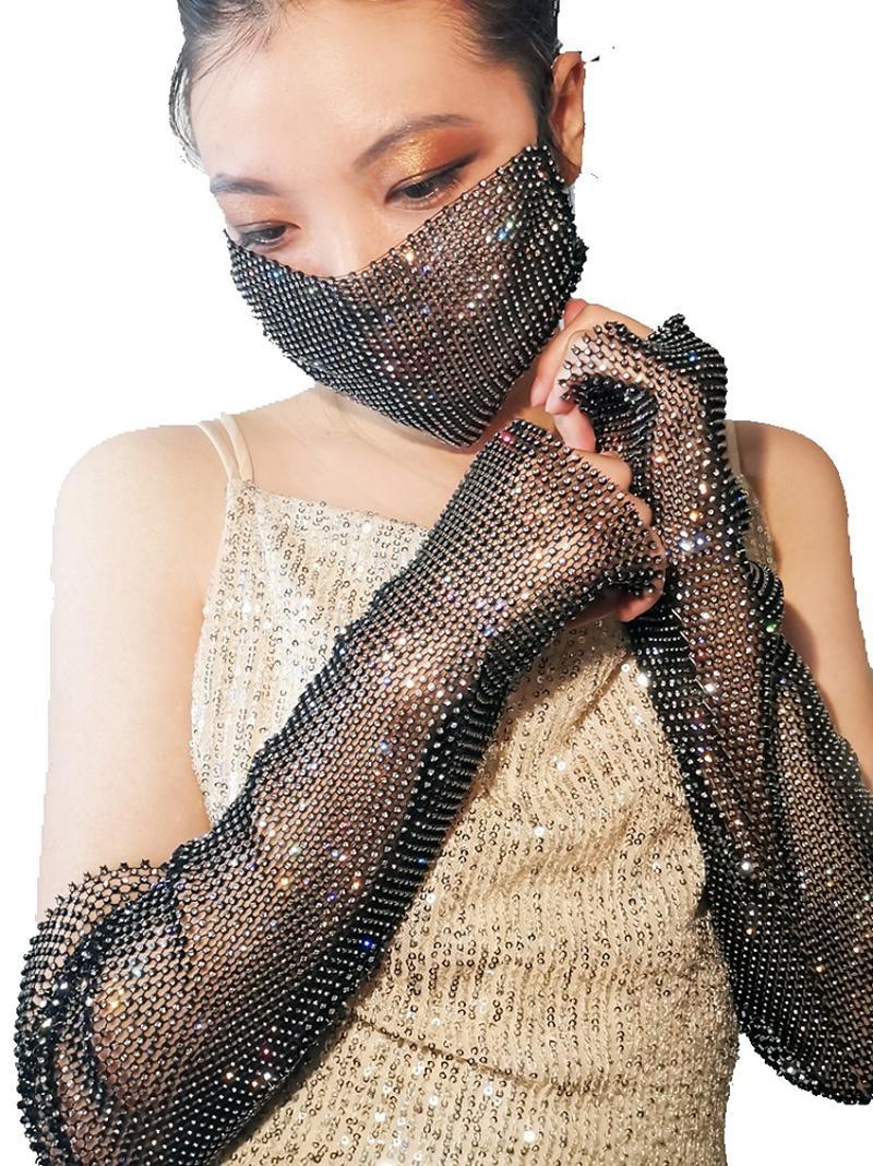 Shiny modo del partito strass sexy maschera di diamante elastico netto Row Drill Lady Nightclub Fancy Dress Decoration