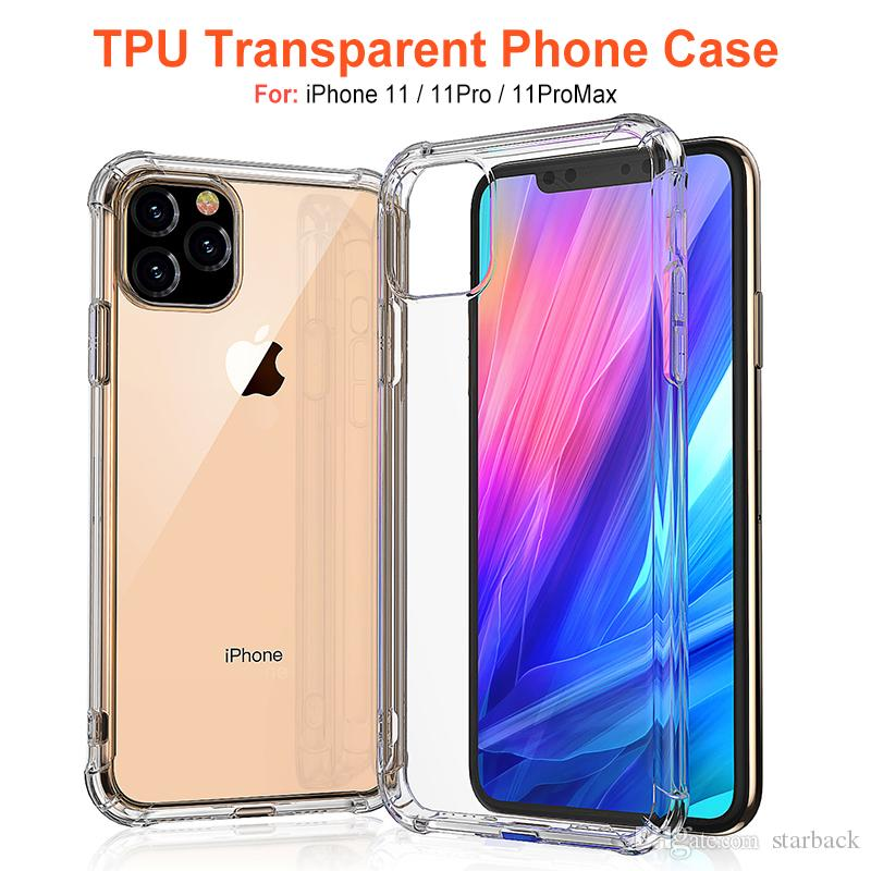 For iPhone 11 2019 iPhone X Soft TPU Phone Cases Shockproof Back Cover Transparent Case Soft Thicken Clear Anti-knock with OPP pacakge