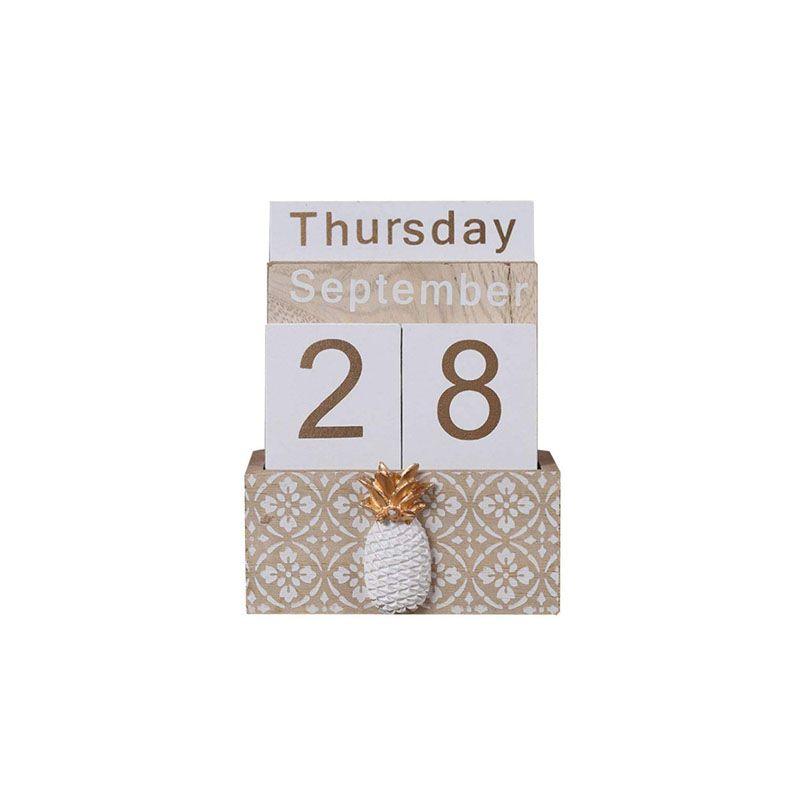 Pineapple Cactus Perpetual Desk Calendar Vintage Wooden Block Calendar Month Week Date Blocks for Home Office Store Decoration