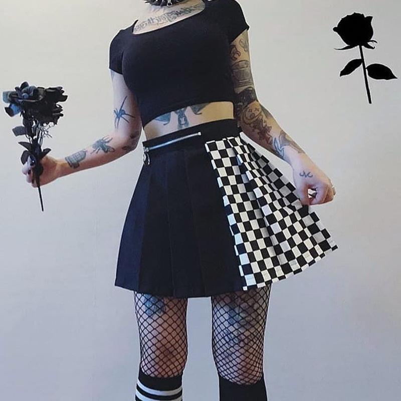 Gonna gotico di Goth scuro casual Patchwork a pieghe Gonne Stampa estate sexy delle donne Plaid Zipper Minigonna Moda Streetwear