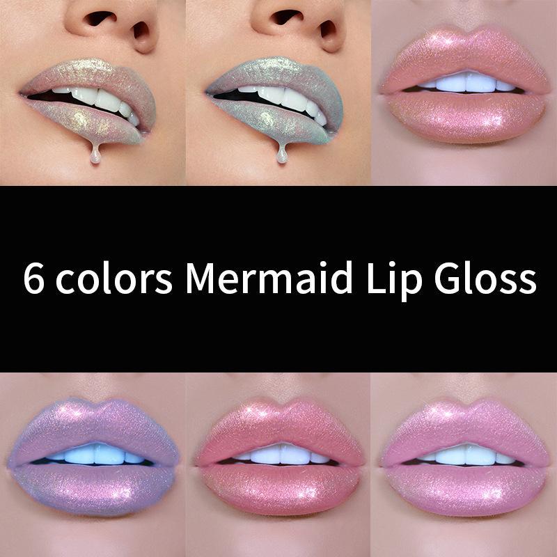 هنديان 7 ألوان mermaid lipgloss الشفاه تينت ترطيب طويل الأمد ملمع الشفاه الشفاه باتوم maquiagem ماكياج q170