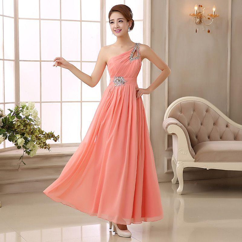 Doce Cor Chiffon Um Ombro Vestidos de Dama de Honra 2020 Frisado Vestido de Festa de Casamento Longo Formal Vestidos Roxo Azul Royal Vermelho Lavanda