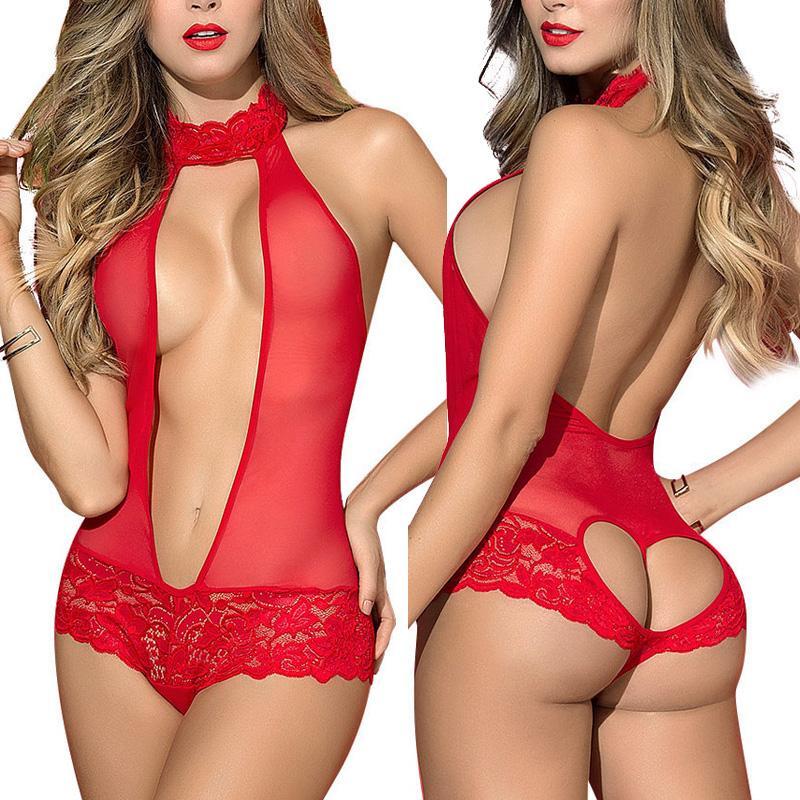 Nouvelle exotiques vêtements imprimé dentelle transparente Robe Femmes Lingerie Sexy Sous-vêtements érotique Corset en dentelle Mesh Set vêtements de nuit
