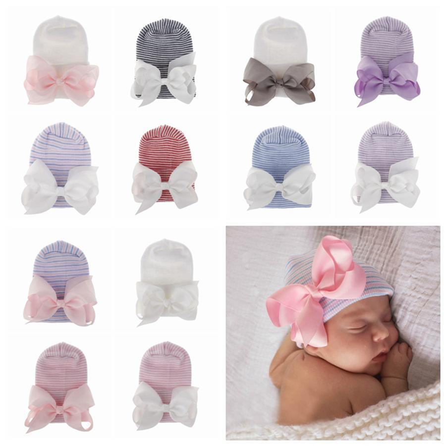 12 стиль Новорожденный Большой лук шляпы ребенка крючком вязать шапки Infant Skull Beanie Зимний Теплый полосатой ленты Bowknot шин Cap Hat Hospital RRA2222