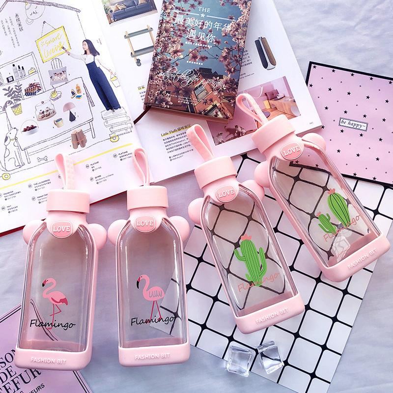 2018 Creative Cartoon Cute Flamingo Cactus Square Glass Water Bottlewith Silicone Botton Women Girl Office School Drink Bottle T8190627
