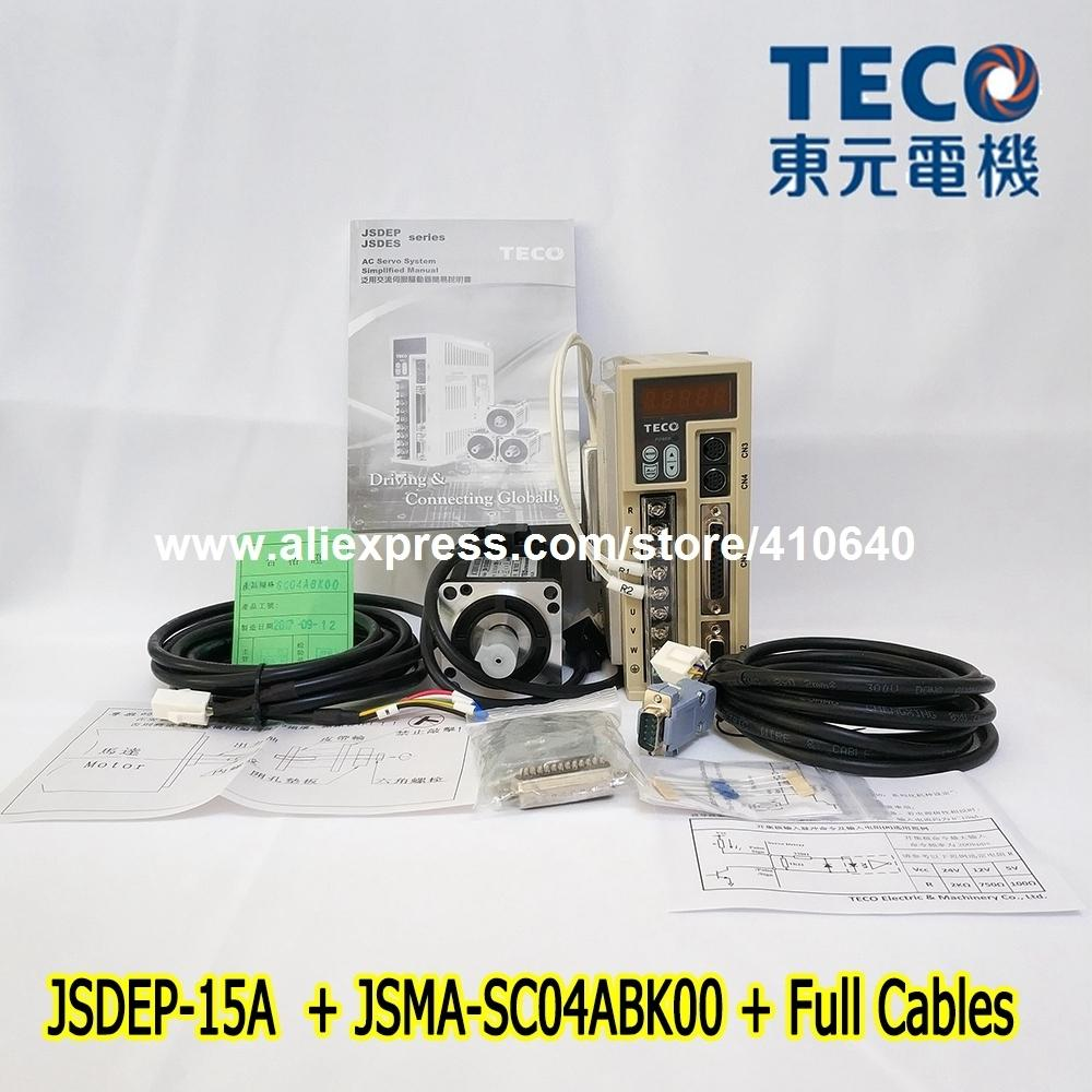 Genuine TECO 400W Servo Motor JSMA-SC04ABK00 And TECO Servo Motor Drive JSDEP-15A with Cable CE and UL Certificate