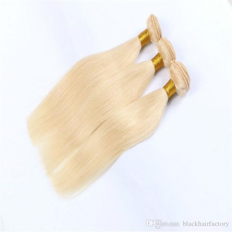 플래티넘 표백제 금발 페루 버진 헤어 스트레이트 컬러 (613) 페루 인간의 머리 짜 번들 헤어 익스텐션 캔 염료