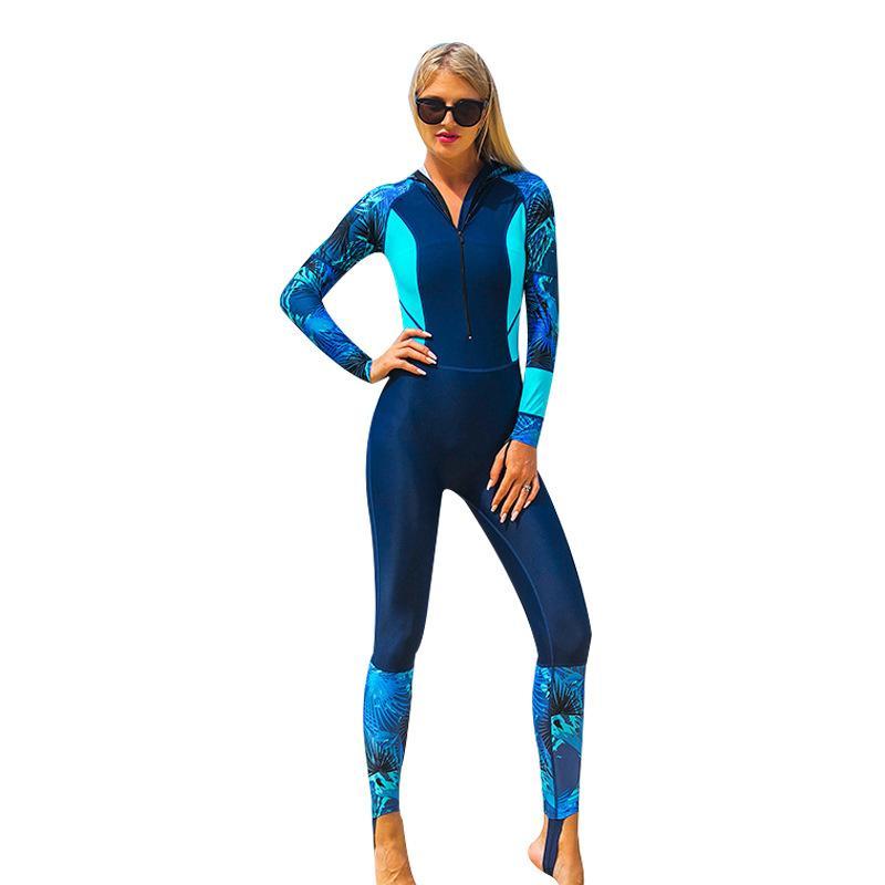 واقية من الشمس الملتصقة بدلة غوص مقنعين قبعة الإناث طويلة الأكمام تصفح ارتداء ملابس السباحة قنديل البحر التجفيف السريع الأزرق 80sb c1