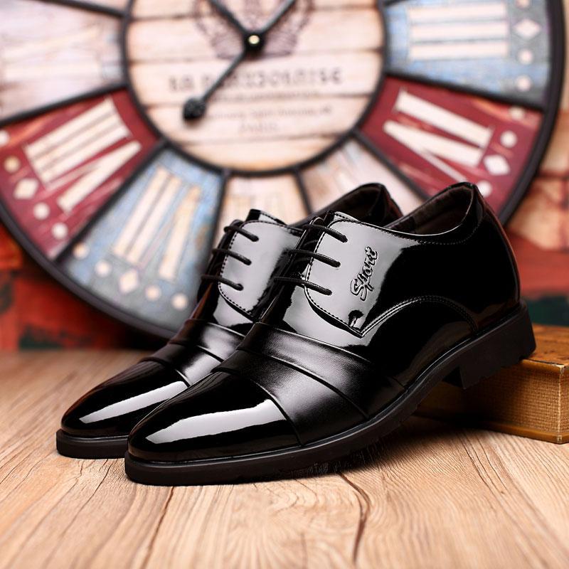 Hot Sale-men elegant coiffeur italian shoes men formal mens patent leather black shoes brand sapato masculino sociais erkek ayakkabi