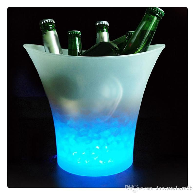 5L Glowing LED Ice Bucket 7Color Champagne Wine Drinks Beer Ice Cooler for Restaurant Bars Nightclubs KTV Pub Party RGB Colors Changing