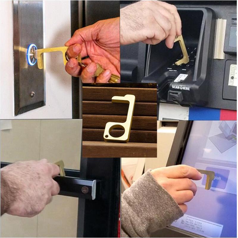 DHL Shipping metal Handsfree Segurança Touchless Hygenic Stylus Key gancho Antibacterianos Latão Mãos Porta gratuito Handle Opener Ferramenta X178FZ