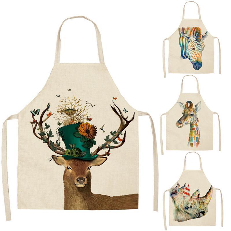 Animales silvestres Printed delantales de la cocina para las mujeres para niños de algodón sin mangas de lino baberos Cocinar Hornear Herramientas de limpieza