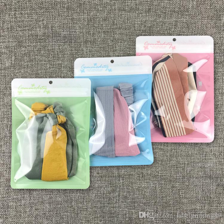 100pcs / lot 14 * 20cm Masque de gaze Masque Chaussettes 3 Couleur Plastique Sac de rangement Store Transparent Fenêtre Enfants Sous-Vêtements Sans serrure de fermeture à glissière auto-joint