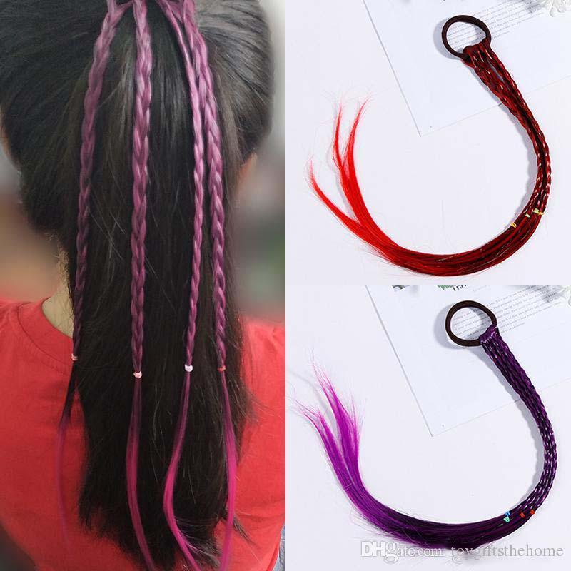 Nuove ragazze Parrucche colorate Fasce per capelli con coda di cavallo Fasce in gomma Fasce di bellezza Copricapo Accessori per capelli per bambini Fascia per capelli