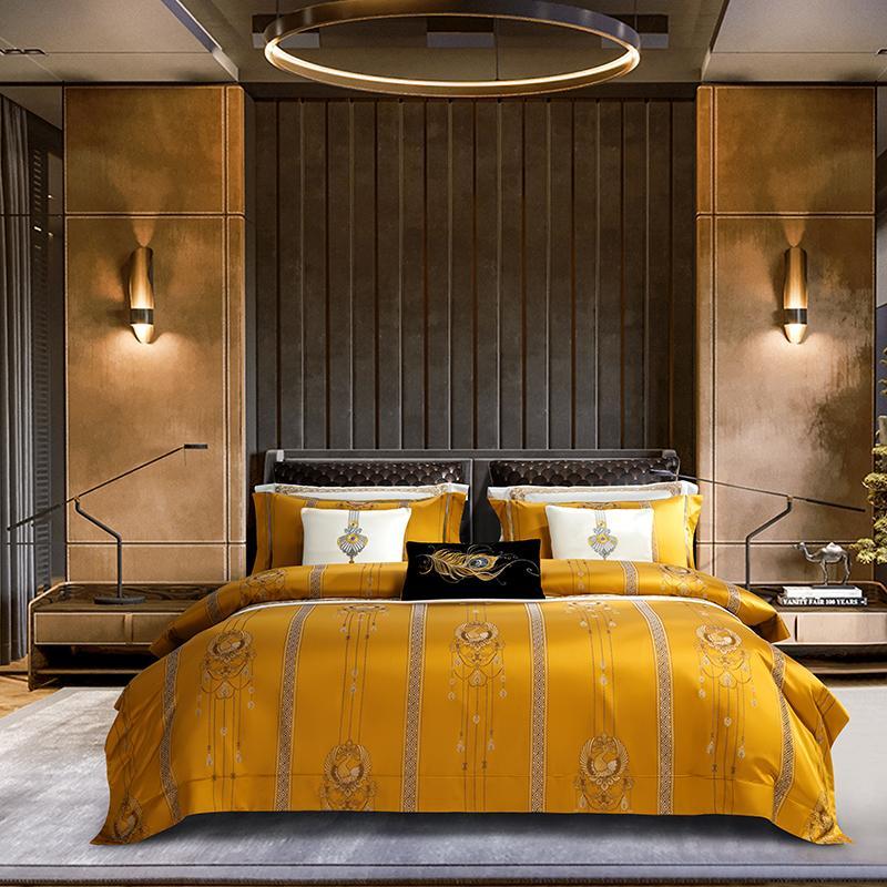 100S lenzuola di cotone egiziano Decorazione Camera Royal 4/6 / 7pcs brillante imperatore coperchio giallo set da letto jacquard duvet regina re