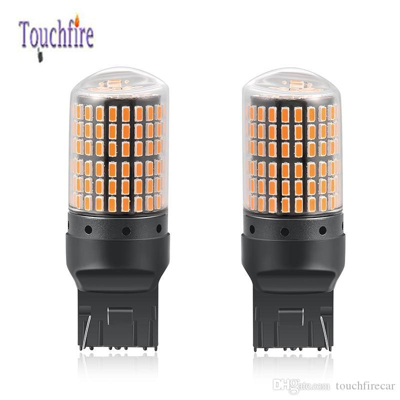 2PCS LED 7440 W21W 1156 P21W BA15S PY21W BAU15S Canbus Car Bulb 2400Lm Turn Signal Reverse Indicator Amber Red Brake Light 144SMD 3014