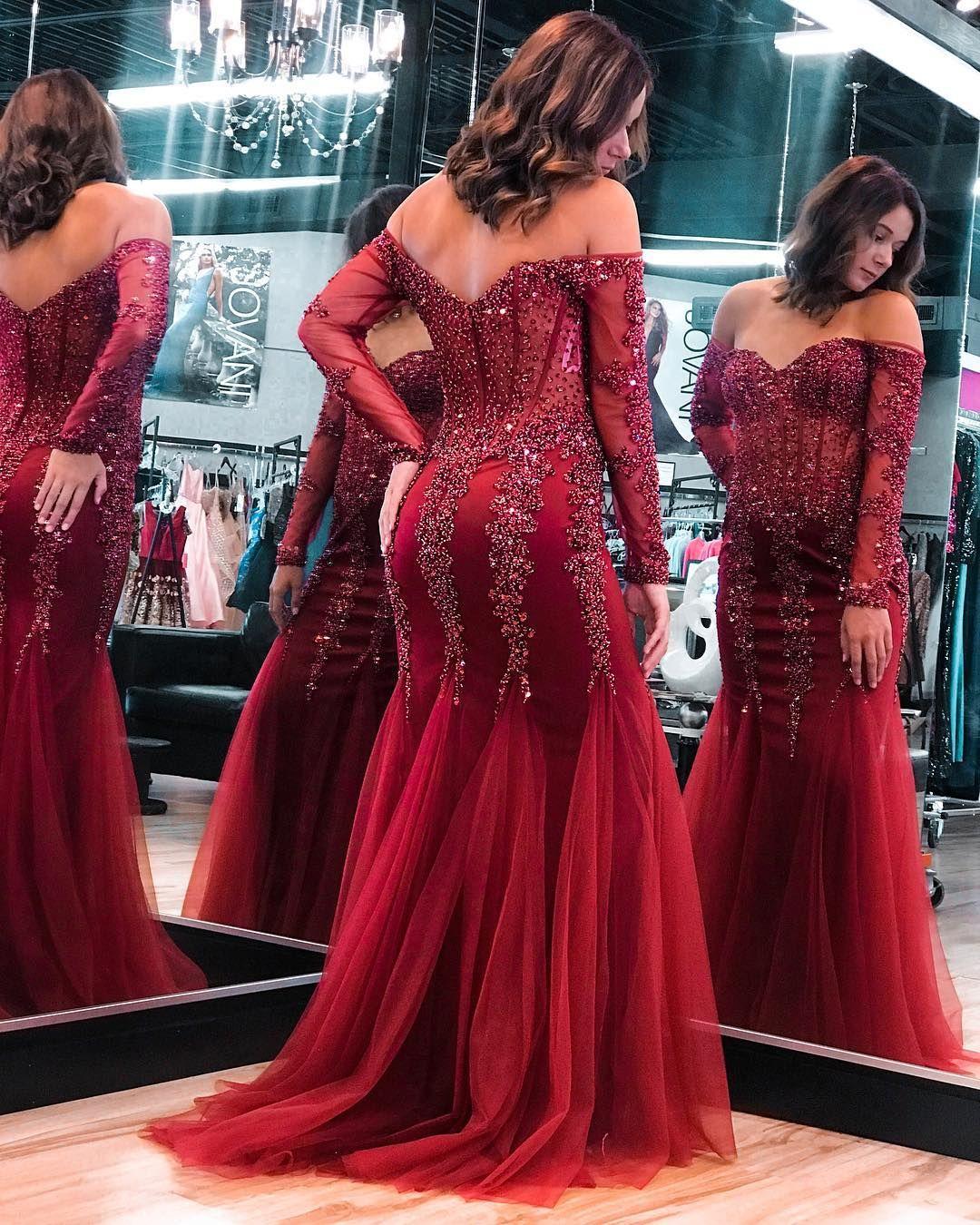 Best Prom Dresses 2021 Dark Red Mermaid 2021 Prom Dresses Gorgeous Crystal Beading