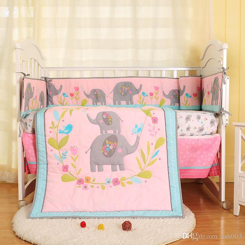 New arrival 7Pcs Baby girl bed linens cotton Cot bedding set Crib bumper set Flowers bloom Elephant Crib bed set Quilt/Bumper/skirt