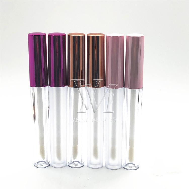 Özel Logo Dudak Plastik Kutu Konteynerleri Rose Gold Lipgloss Tüp Eyeliner Kirpik Konteyner Mini Lip Gloss Bölünmüş Şişe boşaltın 3ml
